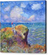 On The Bluff At Pourville - Sur Les Traces De Monet Acrylic Print by David Lloyd Glover