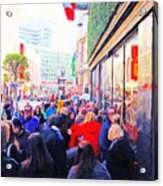 On The Day Before Christmas . Stockton Street San Francisco . Photo Artwork Acrylic Print by Wingsdomain Art and Photography
