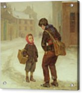 On The Way To School In The Snow Acrylic Print by Pierre Edouard Frere
