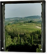 Open Window Looking Out On The Tuscan Acrylic Print by Todd Gipstein