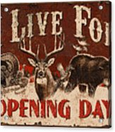 Opening Day Sign Acrylic Print by JQ Licensing