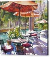 Orange Umbrellas Acrylic Print by Sue Zimmermann