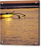 Outrigger And Sunset Acrylic Print by Joss - Printscapes