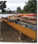 Outrigger Canoes Acrylic Print by Andy Smy
