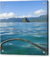 Outrigger On Ocean Acrylic Print by Dana Edmunds - Printscapes