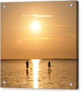 Paddle Boarding Out Of The Sunset Acrylic Print by Bill Cannon