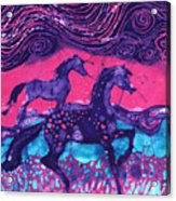 Painted Horses Below The Wind Acrylic Print by Carol  Law Conklin