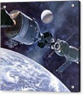 Painting Of Apollo-soyuz Test Project Acrylic Print by Everett