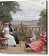 Painting On The Terrace Acrylic Print by Jules Frederic Ballavoine