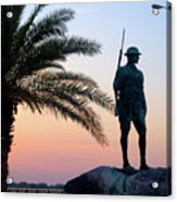 Palatka Memorial Bridge Doughboy At Sunset Acrylic Print by Angie Bechanan