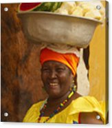 Palenquera In Cartagena Colombia Acrylic Print by Anna Smith