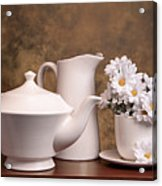 Panoramic Teapot With Daisies Acrylic Print by Tom Mc Nemar