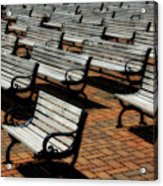 Park Benches Acrylic Print by Perry Webster