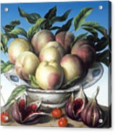 Peaches In Delft Bowl With Purple Figs Acrylic Print by Amelia Kleiser