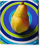 Pear On Plate With Circles Acrylic Print by Garry Gay