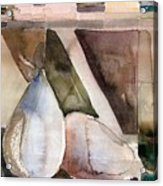 Pear Study In Watercolor Acrylic Print by Mindy Newman