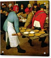 Peasant Wedding Acrylic Print by Pieter the Elder Bruegel