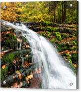 Pennsylvania Autumn Ricketts Glen State Park Waterfall Acrylic Print by Mark VanDyke