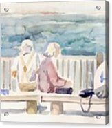 People On Benches Acrylic Print by Linda Berkowitz