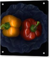 Peppers And Blue Bowl Acrylic Print by Christian Slanec