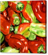 Peppers Acrylic Print by Nadi Spencer