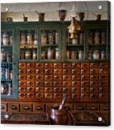 Pharmacy - Right Behind The Counter Acrylic Print by Mike Savad