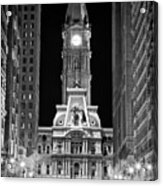 Philadelphia City Hall At Night Acrylic Print by Val Black Russian Tourchin