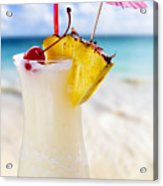Pina Colada Cocktail On The Beach Acrylic Print by Elena Elisseeva