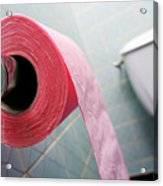 Pink Toilet Roll On Holder In Bathroom Acrylic Print by Sami Sarkis