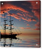 Pirate Ship At Sunset Acrylic Print by Shane Bechler
