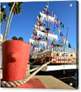 Pirates In Harbor Acrylic Print by David Lee Thompson
