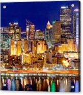 Pittsburgh Pennsylvania Skyline At Night Panorama Acrylic Print by Jon Holiday