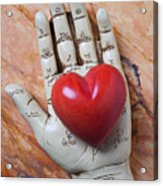 Plam Reader Hand Holding Red Stone Heart Acrylic Print by Garry Gay