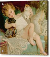 Playmates Acrylic Print by Emile Munier