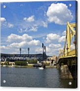 Pnc Park And Roberto Clemente Bridge Pittsburgh Pa Acrylic Print by Kristen Vota