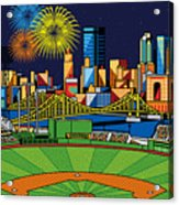 Pnc Park Fireworks Acrylic Print by Ron Magnes