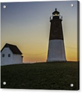 Point Judith Light At Sunset Acrylic Print by Thomas Schoeller