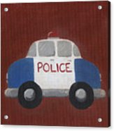 Police Car Nursery Art Acrylic Print by Katie Carlsruh