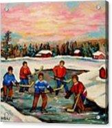 Pond Hockey Countryscene Acrylic Print by Carole Spandau