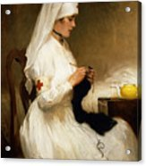 Portrait Of A Nurse From The Red Cross Acrylic Print by Gabriel Emile Niscolet