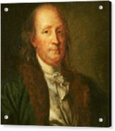 Portrait Of Benjamin Franklin Acrylic Print by George Peter Alexander Healy