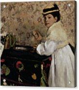 Portrait Of Hortense Valpincon As A Child Acrylic Print by Edgar Degas