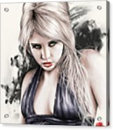 Portrait Of Miss Mosh Acrylic Print by Pete Tapang