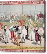Poster Advertising The Barnum And Bailey Greatest Show On Earth Acrylic Print by American School