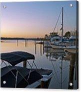 Potomac River At Sunrise Belle Haven Marina Alexandria Virginia Acrylic Print by Brendan Reals