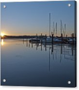 Potomac River Sunrise At Belle Haven Marina Virginia Acrylic Print by Brendan Reals