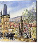 Prague Charles Bridge Spring Acrylic Print by Yuriy  Shevchuk