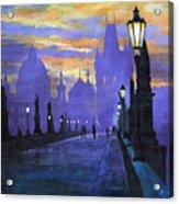 Prague Charles Bridge Sunrise Acrylic Print by Yuriy  Shevchuk