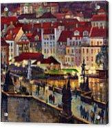 Prague Charles Bridge With The Prague Castle Acrylic Print by Yuriy  Shevchuk