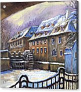 Prague Chertovka Winter 01 Acrylic Print by Yuriy  Shevchuk